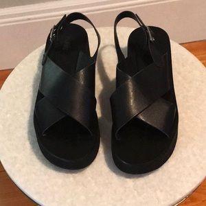 Barneys New York Crisscross Strap Platform Sandals